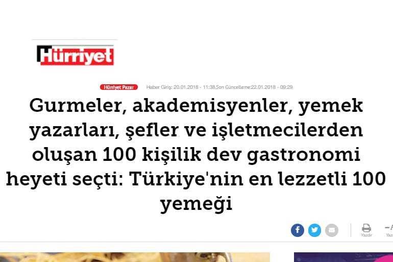 Hürriyet Gazetesi Türkiye'nin En Lezzetli Yemeği Haberi